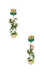 Mercedes Salazar Woven Flower Earrings In Metallic Gold. Multi
