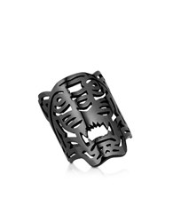 Kenzo Ruthenium Plated Sterling Oversized Tiger Ring