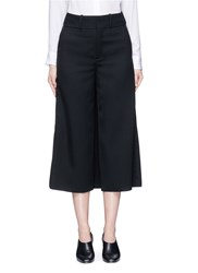 Ms Min Skirt Back Overlay Wool Twill Culottes Black