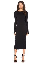 Enza Costa Cashmere Long Sleeve Crew Neck Dress Black