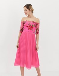 Chi Chi London Lace Embroidered Top Midi Dress With Pleated Chiffon Skirt In Fuchsia Pink