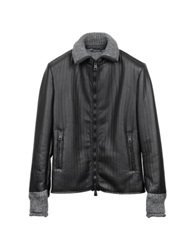 Forzieri Men's Black And Gray Wool Leather Motorcycle Zip Jacket