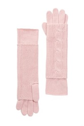 Portolano Cashmere Cable Knit Long Fingerless Gloves Pink