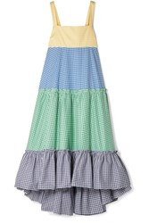 Mds Stripes Tiered Gingham Cotton Poplin Maxi Dress Blue