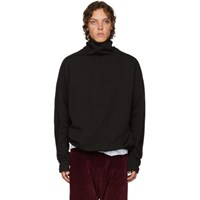 D By D Black Raw Cut Turtleneck Sweatshirt