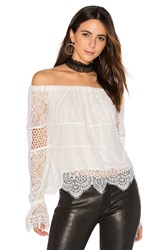 Kendall Kylie Off Shoulder Lace Top White
