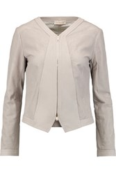 Tory Burch Nicki Perforated Leather Jacket Taupe
