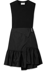 3.1 Phillip Lim Belted Layered Cotton Jersey And Poplin Dress Black