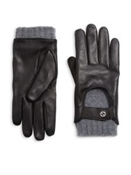 Gucci Leather And Cashmere Driving Gloves Smoke