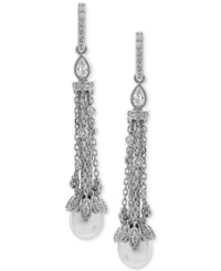 Arabella Cultured Freshwater Pearl 8 X 10Mm And Swarovski Zirconia Linear Drop Earrings In Sterling Silver White