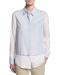 Vince Layered Striped Button Down Shirt Optc Wht Blu Strp