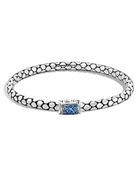John Hardy Sterling Silver Dot Lava Medium Slim Chain Bracelet With Blue Sapphire Blue Silver