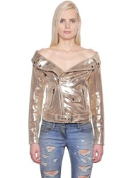 Faith Connexion Off The Shoulder Leather Biker Jacket