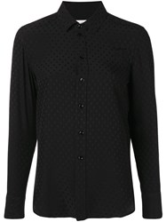 Saint Laurent Embroidered Fitted Shirt Black