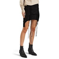 Helmut Lang Aviator Layered Cotton Jersey Lace Up Miniskirt Black