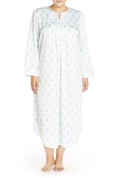 Plus Size Women's Carole Hochman Designs Satin Long Nightgown Ribbon Stripe Blue Ivory