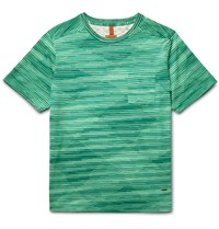 Missoni Patterned Knitted Cotton T Shirt Green