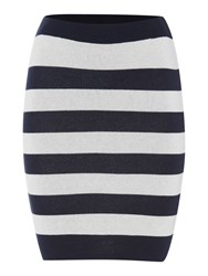 Vila Knitted Striped Bodycon Skirt Navy Stripe