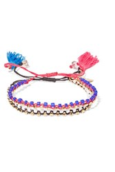 Isabel Marant Hotel Excelsior Set Of Two Cord Gold Plated And Beaded Bracelets Pink