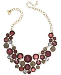 Inc International Concepts Gold Tone Merlot Crystal Bubble Necklace Only At Macy's