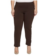 Krazy Larry Plus Size Pull On Ankle Pants Brown Women's Dress Pants