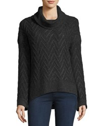 Three Dots Cowl Neck Chevron Knit Tunic Charcoal