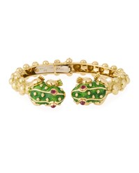 David Webb 18K Gold Baby Frog Cuff Bracelet In Green Enamel