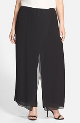 Alex Evenings Faux Wrap Wide Leg Pants Plus Size Black