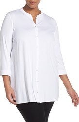 Plus Size Women's Eileen Fisher Lightweight Jersey Mandarin Collar Tunic White