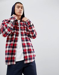Dc Shoes Check Shirt With Hood In Red