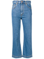 Fiorucci Cropped Flare Jeans Blue