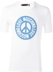Love Moschino Peace And Logo Print T Shirt White