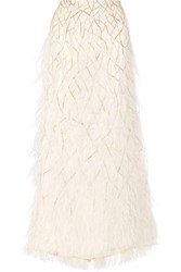 Alice Olivia Ashton Feather Trimmed Embellished Tulle Maxi Skirt Ivory