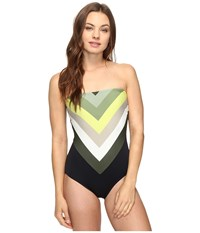 Vince Camuto Camellia Stripe Lace Back Bandeau One Piece Black Women's Swimsuits One Piece