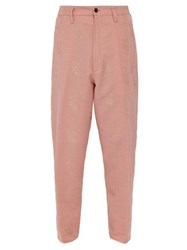 Ann Demeulemeester Alexa Rose Jacquard Cotton Blend Trousers Pink