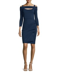 La Petite Robe Di Chiara Boni Nellie Long Sleeve Off The Shoulder Ruched Dress Blue Notte Size 14