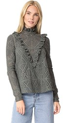 See By Chloe Ruffle Neck Lace Top Carbon Green
