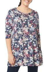 Evans Plus Size Women's Floral Print Tunic Top Navy
