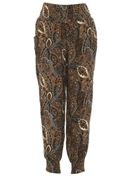 Izabel London Eastern Paisley Print Trousers Natural