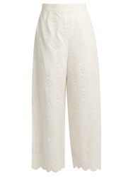 Zimmermann Broderie Anglaise Cropped Trousers Ivory