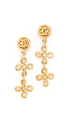 Wgaca Chanel Dangle Earrings Previously Owned Gold