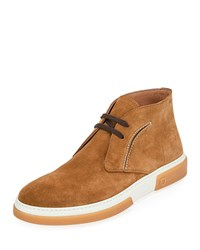 Salvatore Ferragamo Alder Leather Chukka Boots Brown