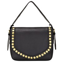 John Lewis Maya Leather Slouch Shoulder Bag Black