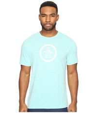 Original Penguin Tri Blend Distressed Bright Aqua Men's T Shirt Blue