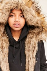 Silence And Noise Faux Fur Lined Parka Black