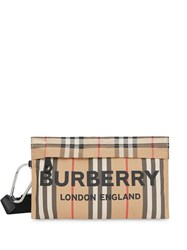 Burberry Logo Print Icon Stripe Nylon Zip Pouch Neutrals