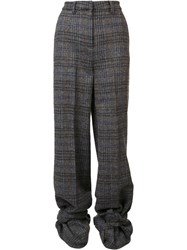 Y Project Checked High Waisted Trousers Black