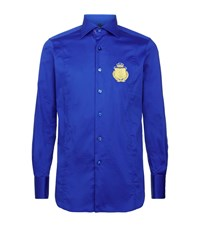 Billionaire Embroidered Crest Slim Fit Shirt Male Blue