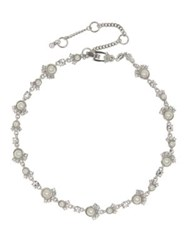 Givenchy Swarovski Crystal And Faux Pearl Collar Necklace Silver