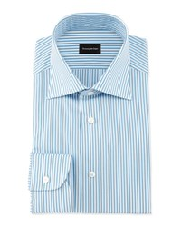 Ermenegildo Zegna Bengal Stripe Woven Dress Shirt Open White Pattern